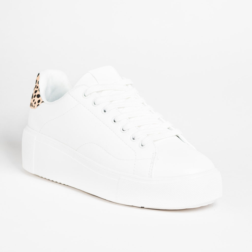 Womens Trendy Animal Print Platform Sneakers - Qupid Shoes - White / 5