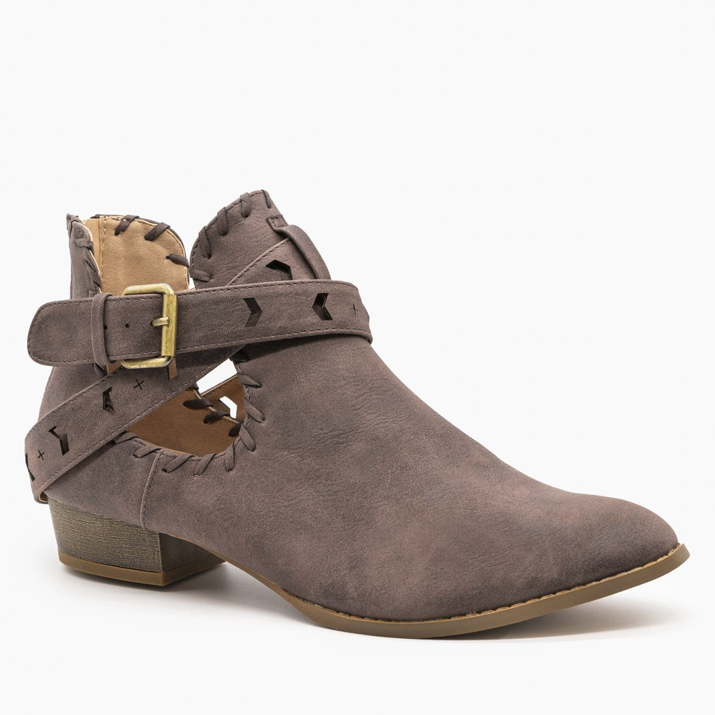 Womens Trendy Belted Western Booties - AMS Shoes - Mocha / 5