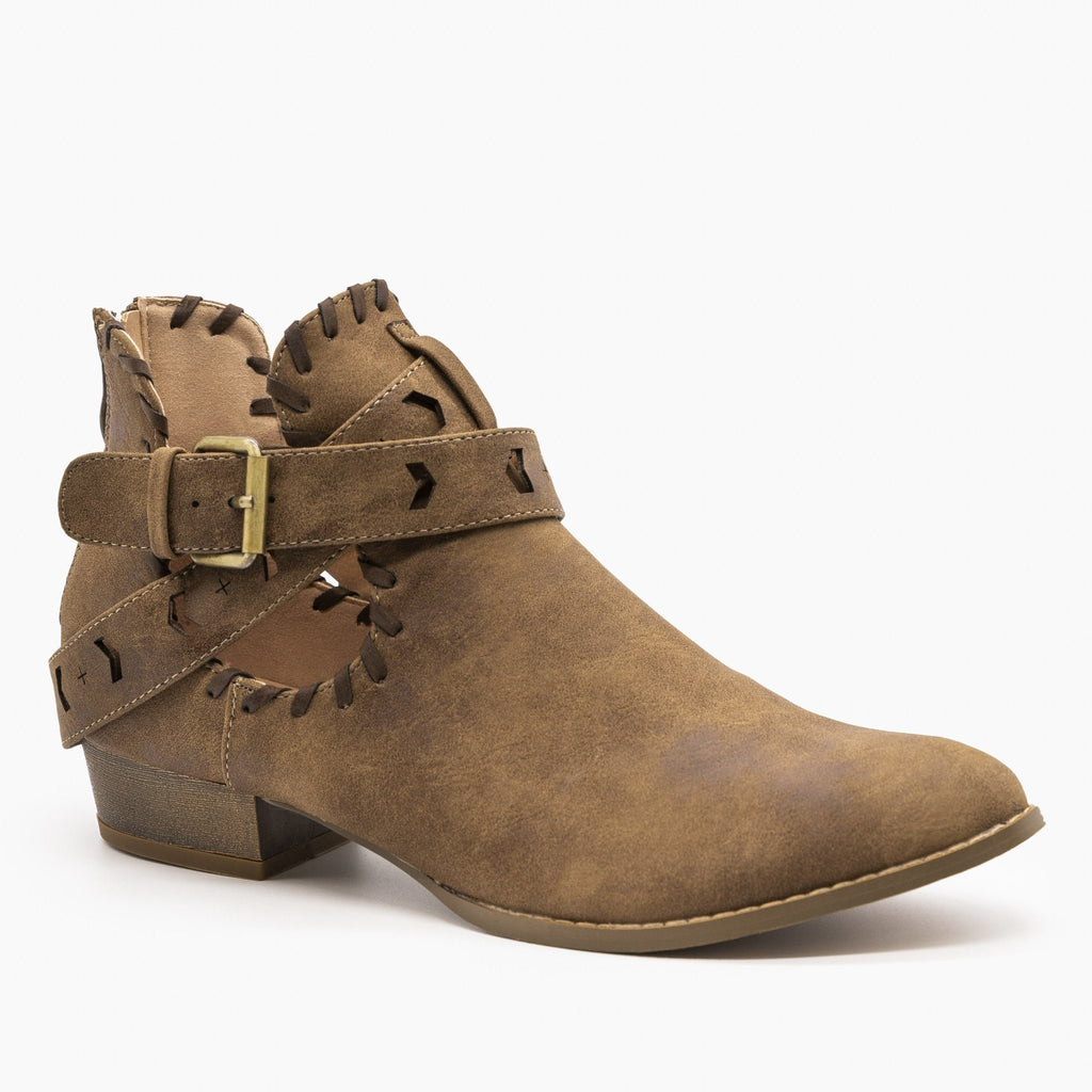 Womens Trendy Belted Western Booties - AMS Shoes - Copper / 5