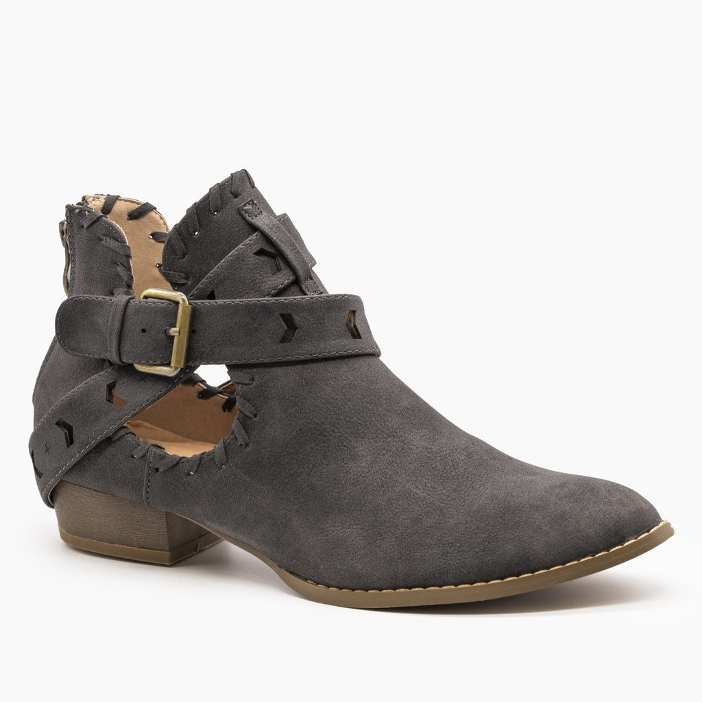 Womens Trendy Belted Western Booties - AMS Shoes - Charcoal / 5