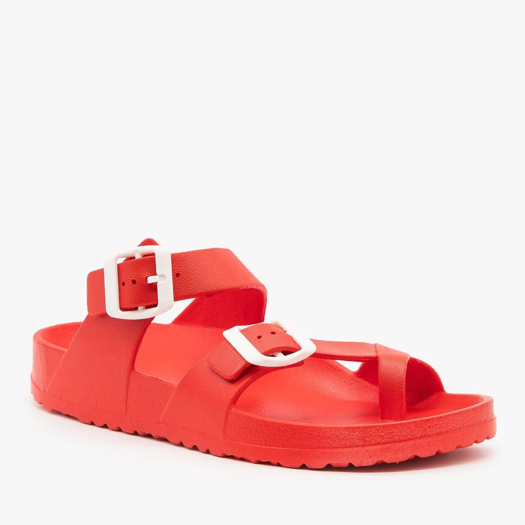 Womens Trendy Buckled Foam Slides - Top Moda - Red / 5