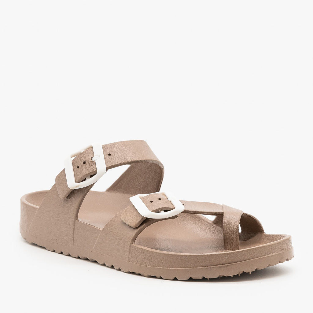 Womens Trendy Buckled Foam Slides - Top Moda - Taupe / 5