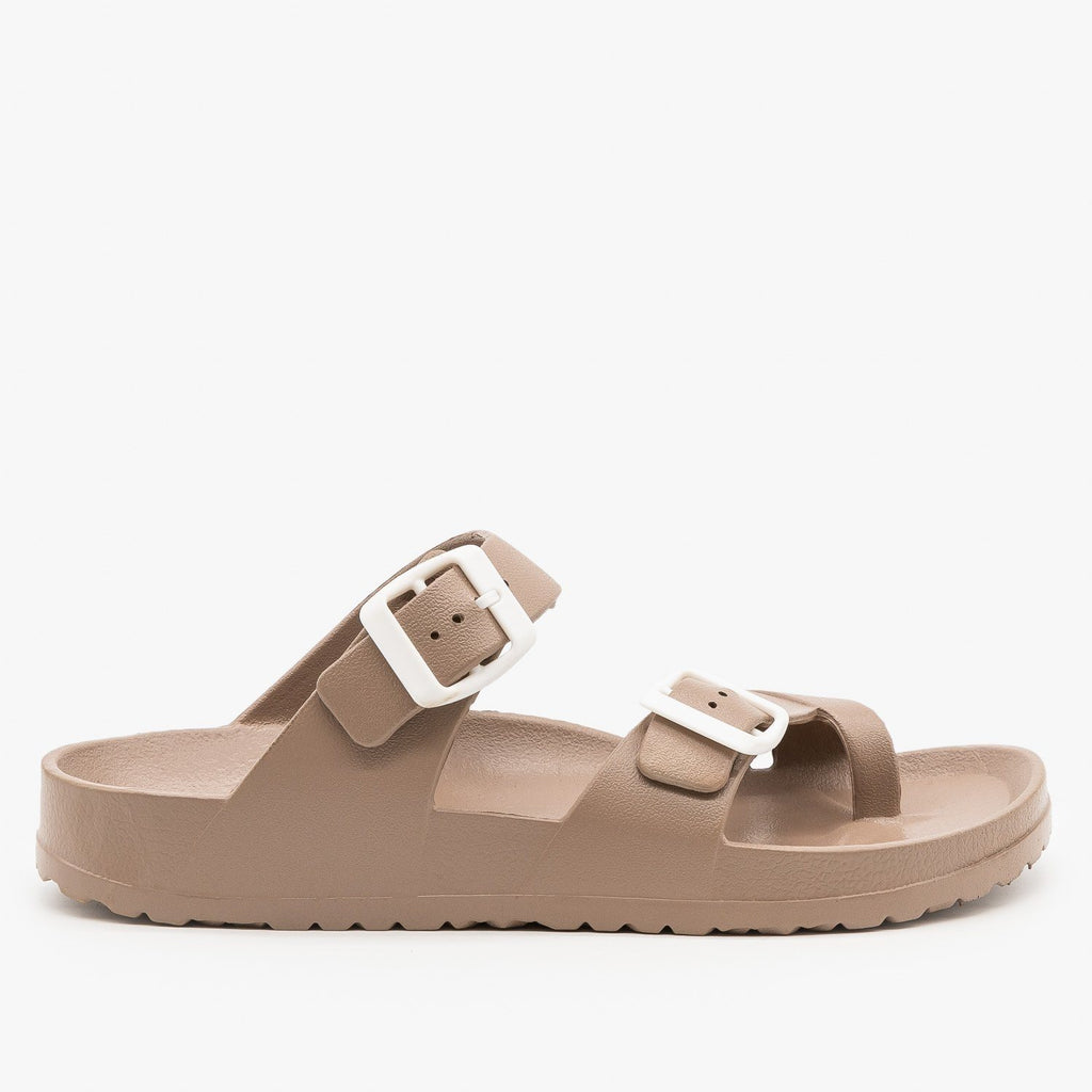 Womens Trendy Buckled Foam Slides - Top Moda