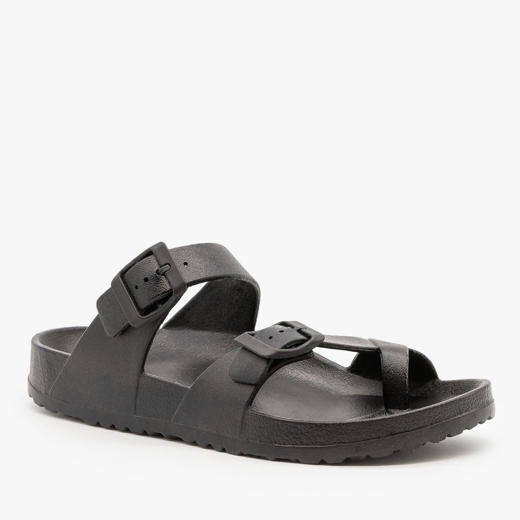 Womens Trendy Buckled Foam Slides - Top Moda - Black / 5
