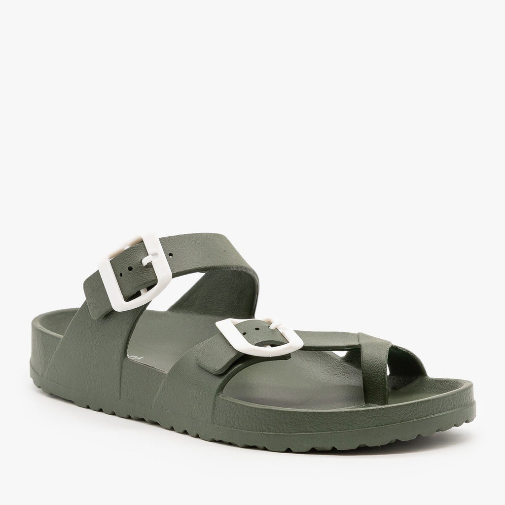 Womens Trendy Buckled Foam Slides - Top Moda - Olive Green / 5