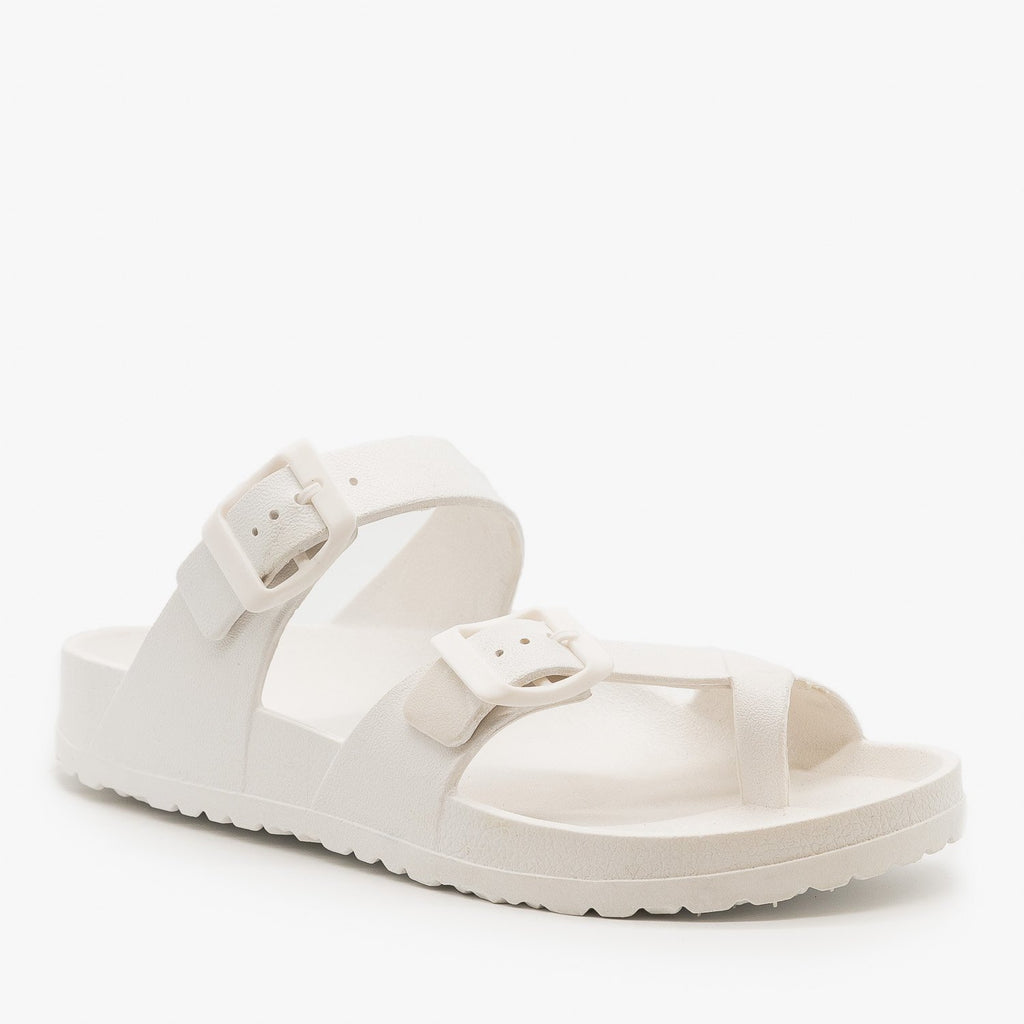 Womens Trendy Buckled Foam Slides - Top Moda - White / 5