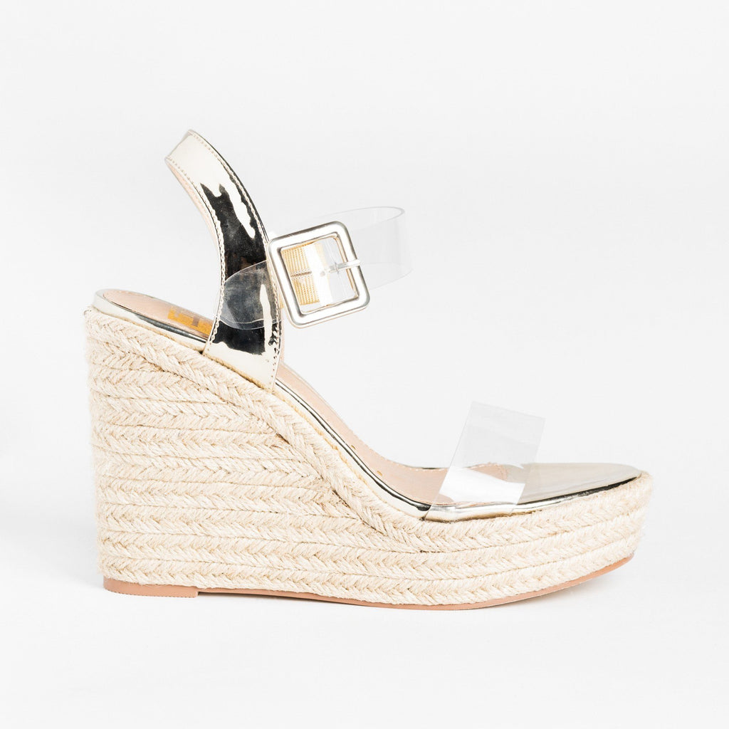 Womens Trendy Clear Strap Espadrille Wedges - Fahrenheit - Gold / 5