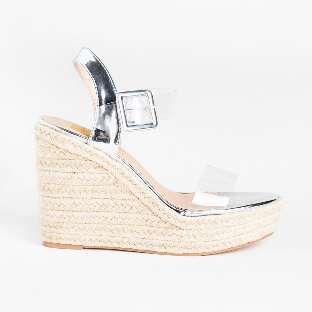 Womens Trendy Clear Strap Espadrille Wedges - Fahrenheit - Silver / 5