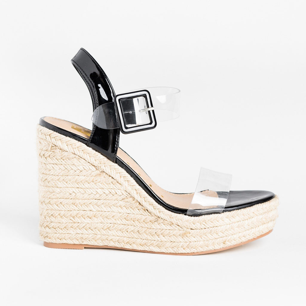 Womens Trendy Clear Strap Espadrille Wedges - Fahrenheit - Black / 5