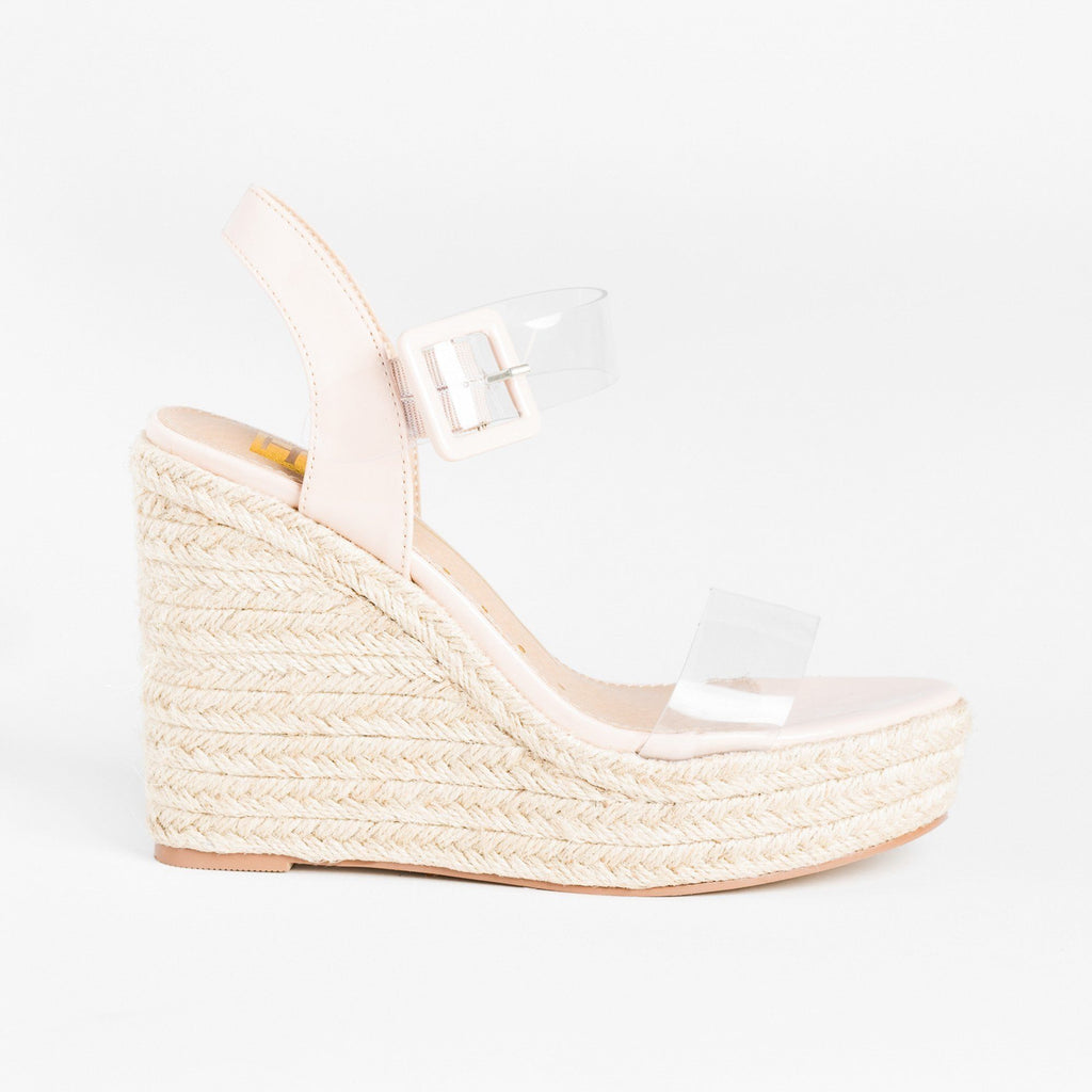 Womens Trendy Clear Strap Espadrille Wedges - Fahrenheit - Nude / 5