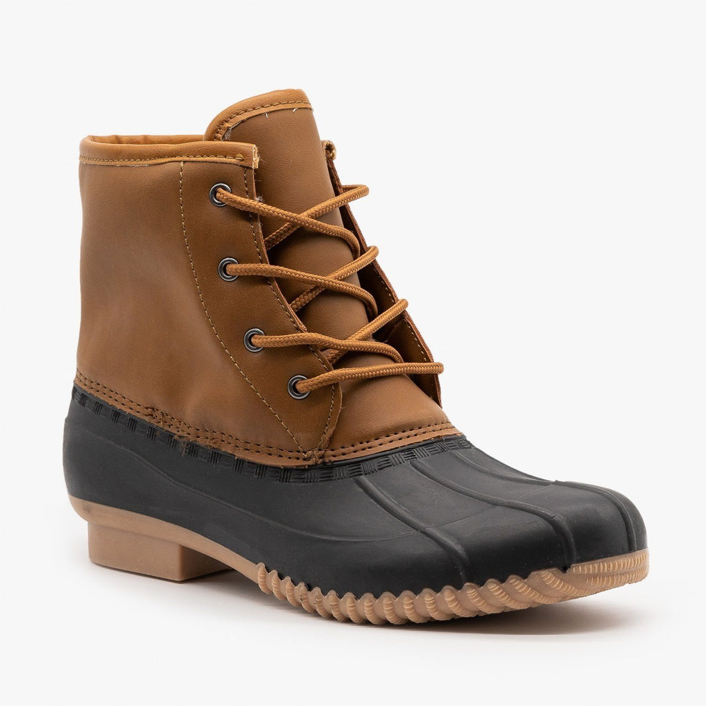Womens Trendy Combat Duck Boots - Refresh - Cognac / 5