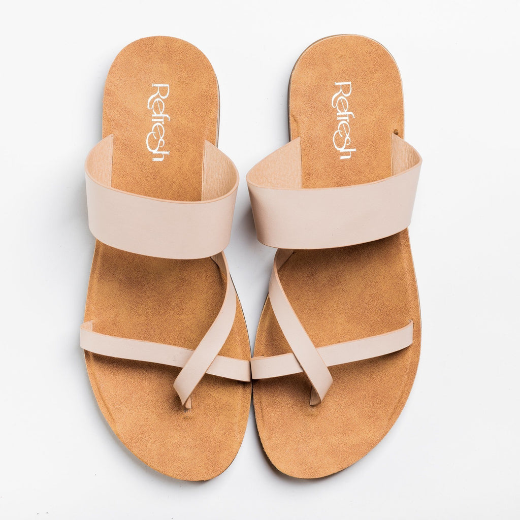 Womens Trendy Criss Cross Toe Hold Sandals - Refresh - Nude / 5