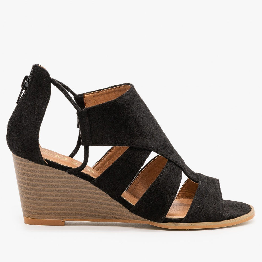 Womens Trendy Cutout Fashion Wedges - Mata - Black / 5
