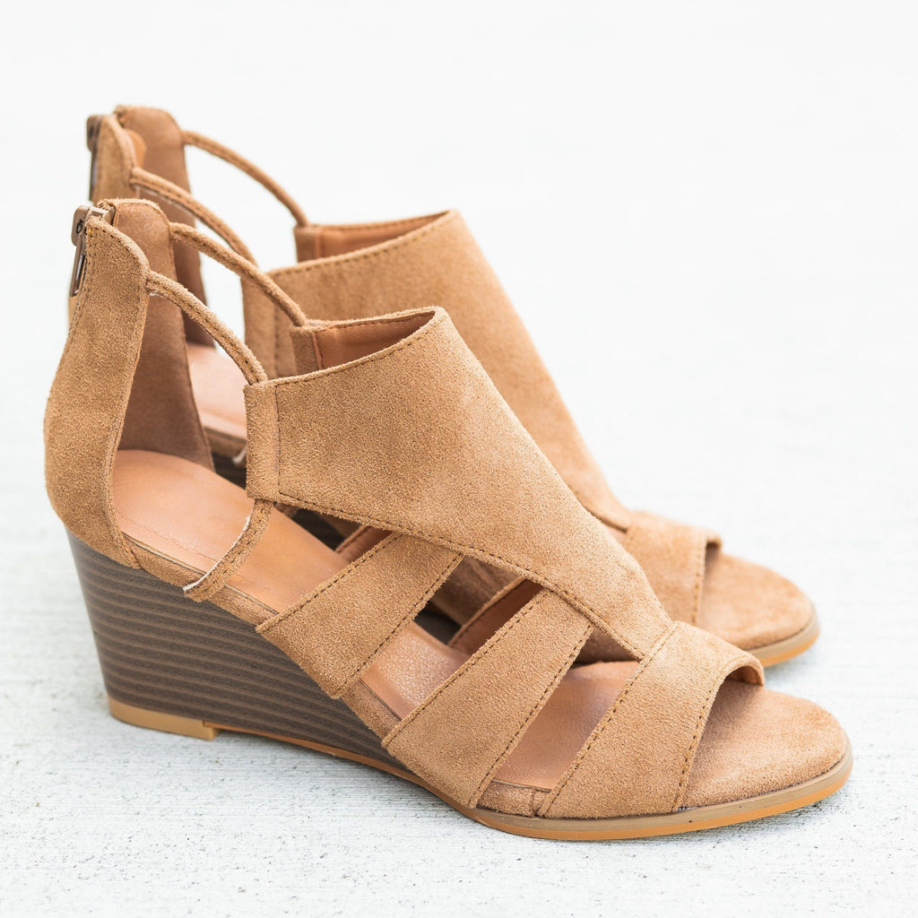 Womens Trendy Cutout Fashion Wedges - Mata - Taupe / 5
