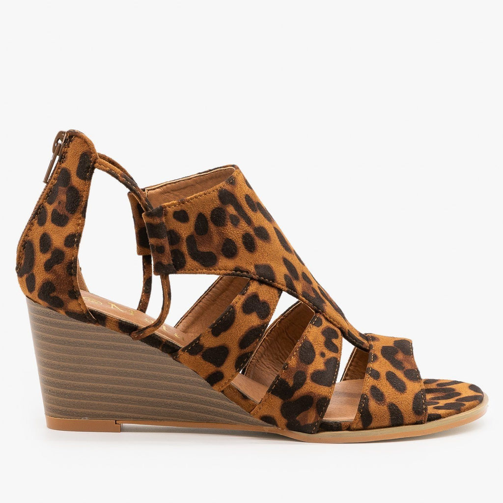 Womens Trendy Cutout Fashion Wedges - Mata - Leopard / 5