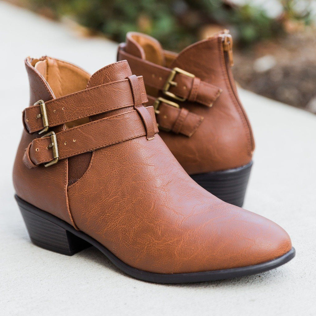 Womens Trendy Double Buckle Booties - Wild Diva Shoes