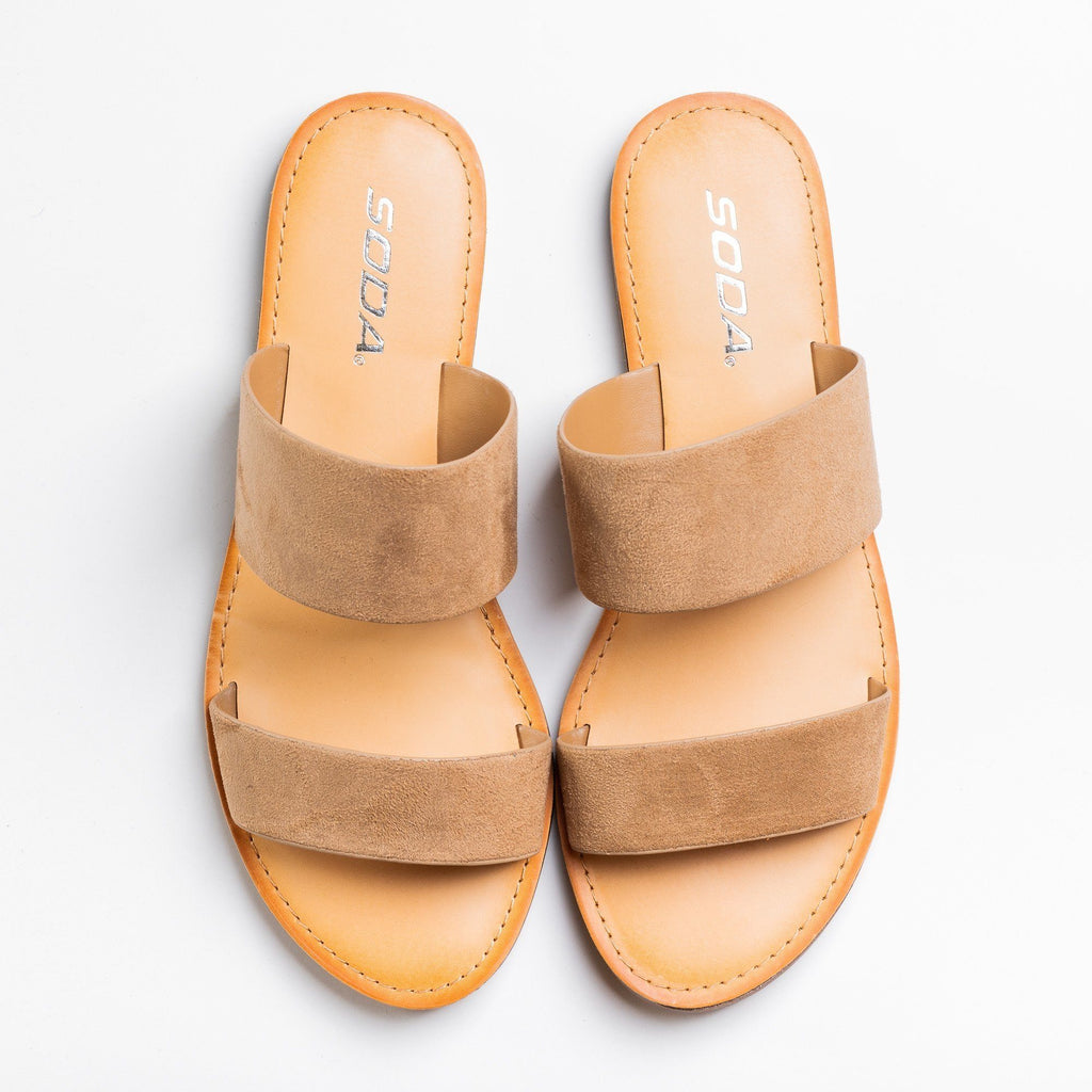 Womens Trendy Double Strap Fashion Sandals - Soda Shoes - Natural / 5