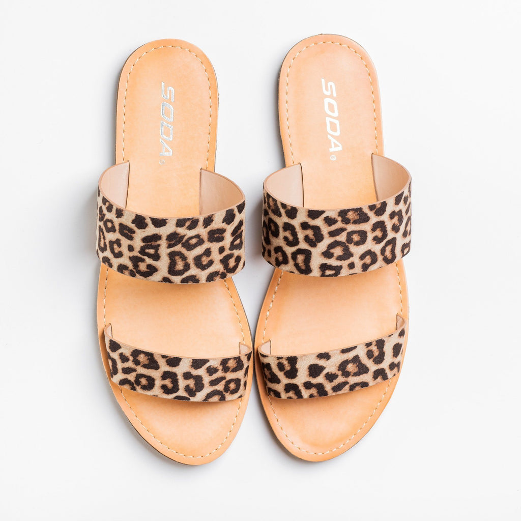 Womens Trendy Double Strap Fashion Sandals - Soda Shoes - Oatmeal Cheetah / 5