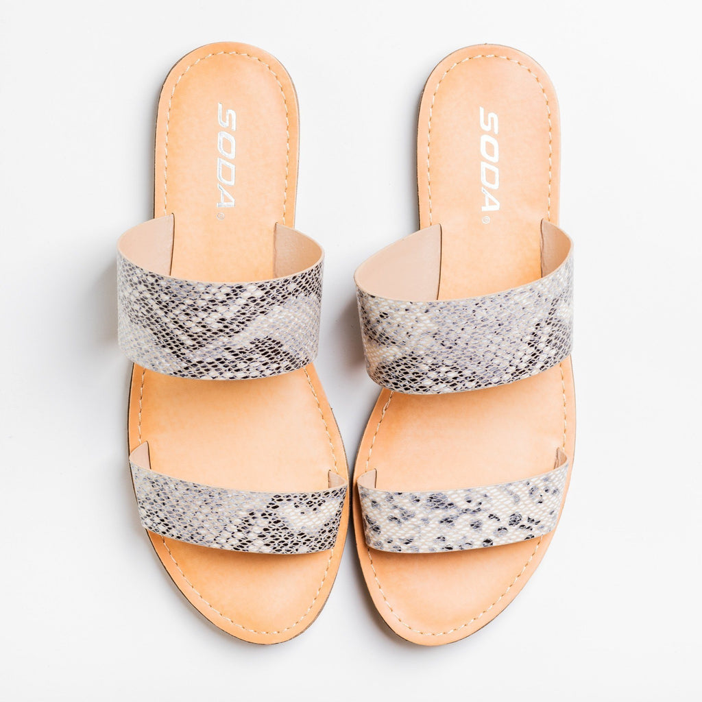 Womens Trendy Double Strap Fashion Sandals - Soda Shoes - Beige Python / 5