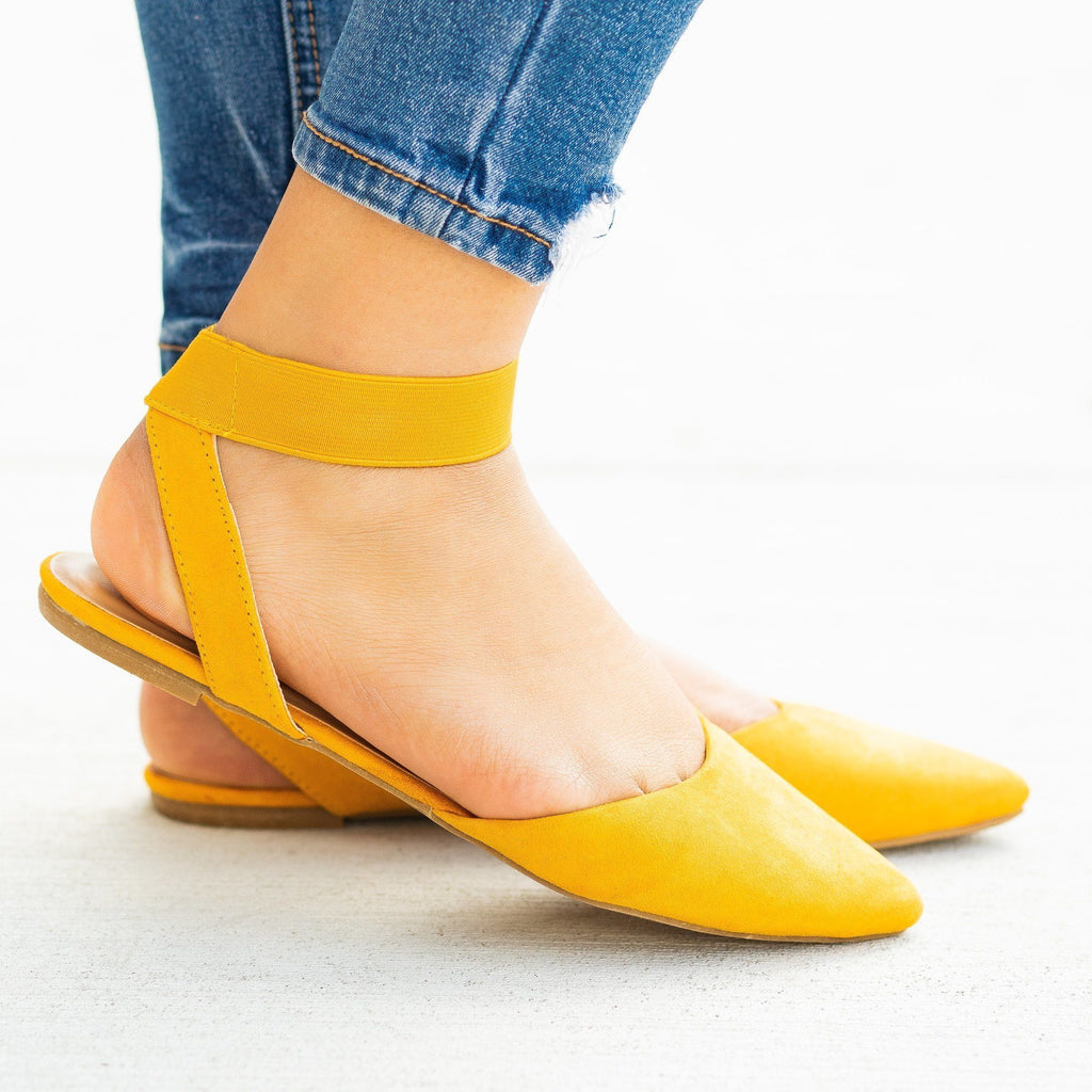 Womens Trendy Elastic Strap Pointed Toe Flats - Bamboo Shoes