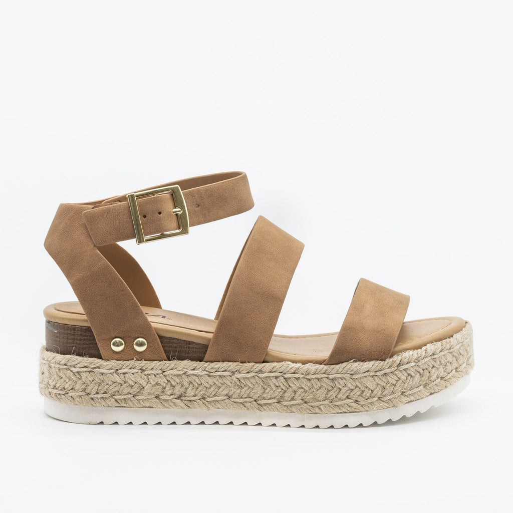 Womens Trendy Espadrille Flatform Wedges - Refresh - Tan / 5