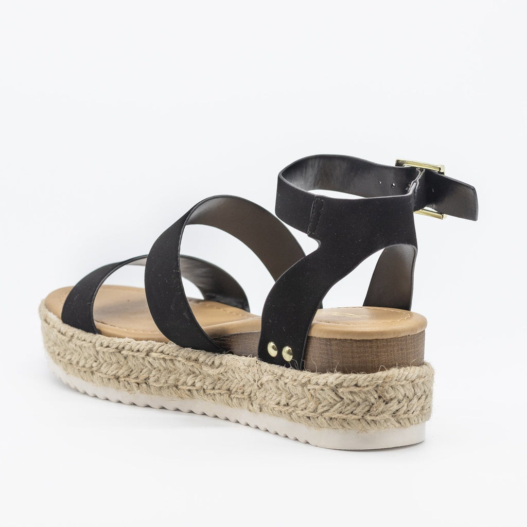 Womens Trendy Espadrille Flatform Wedges - Refresh