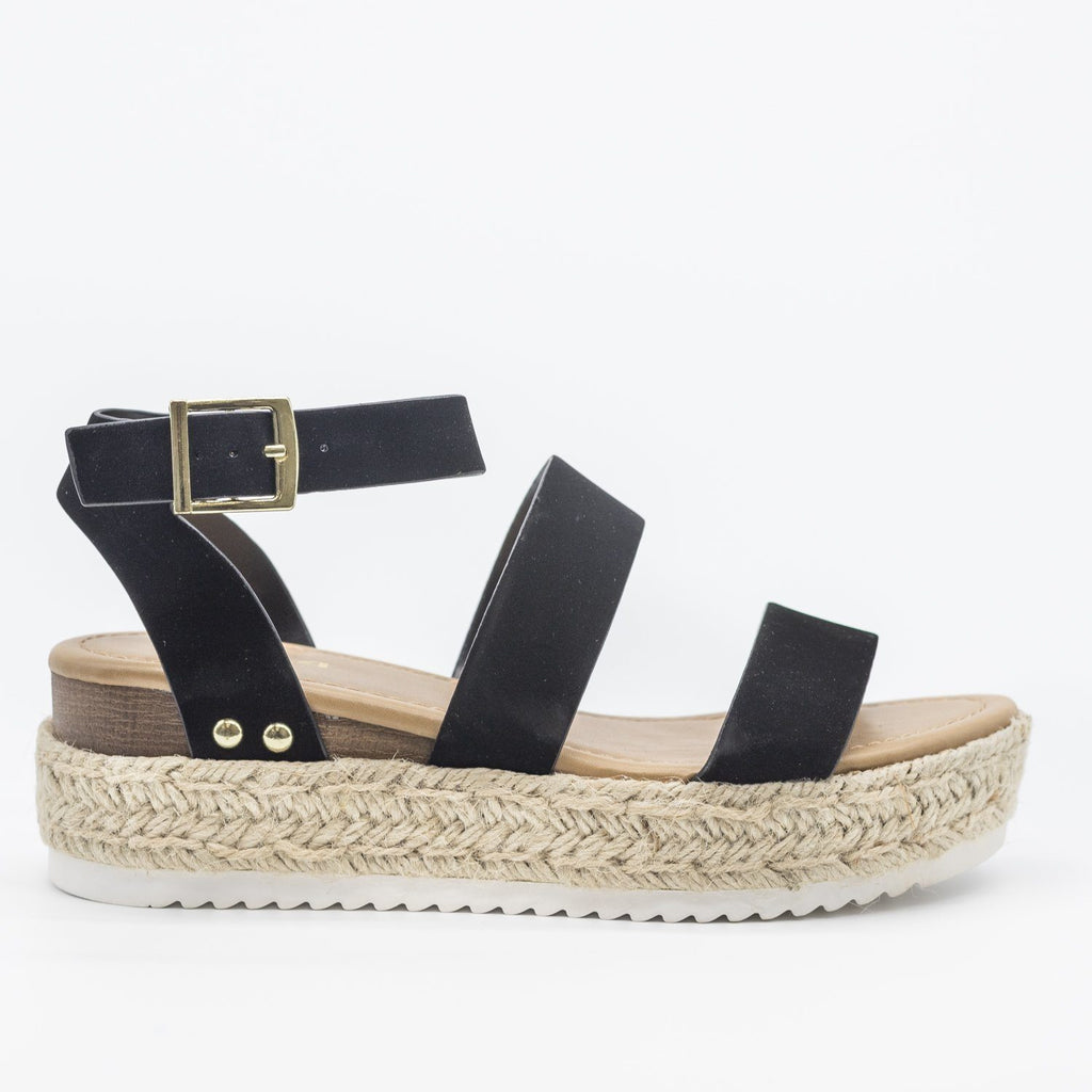 Womens Trendy Espadrille Flatform Wedges - Refresh - Black / 5