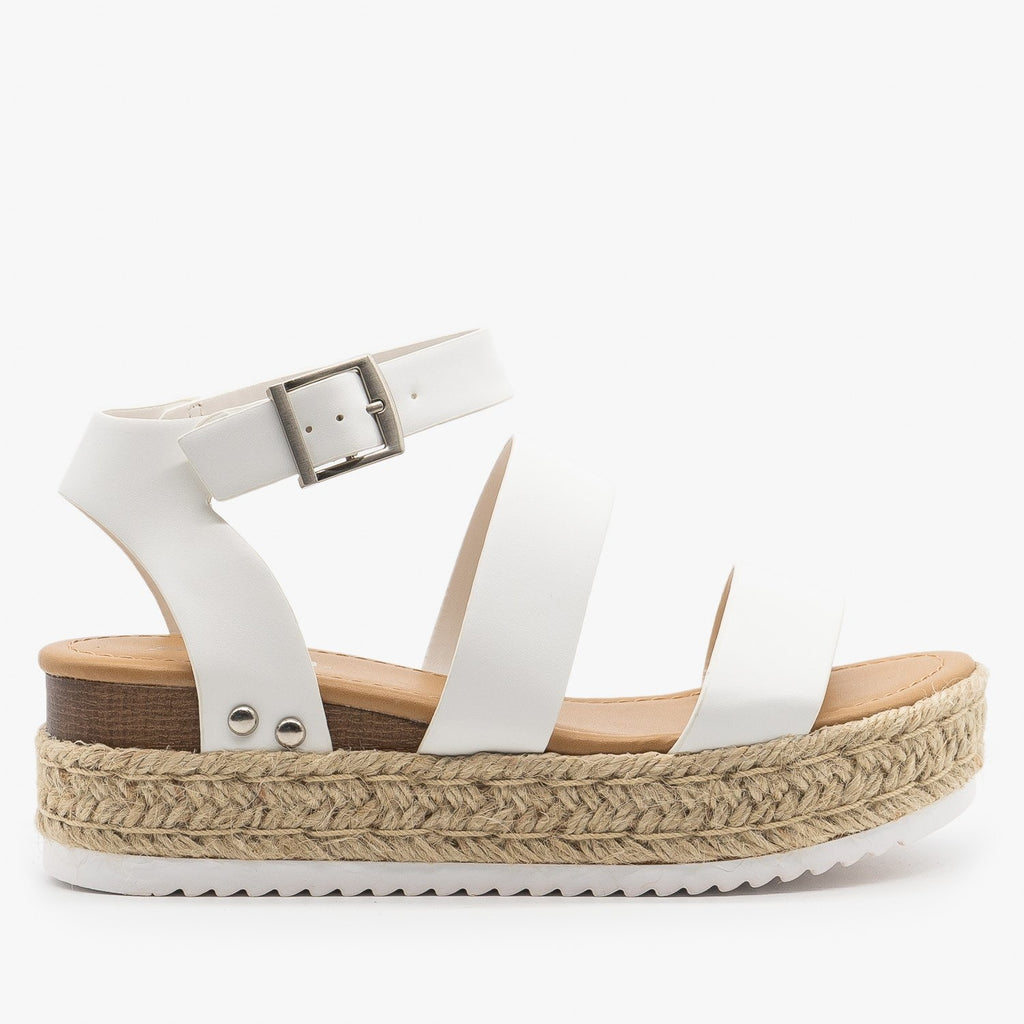 Womens Trendy Espadrille Flatform Wedges - Refresh - White / 5