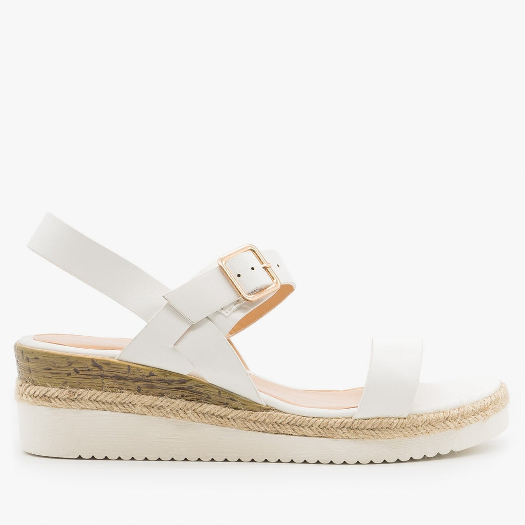 Women's Trendy Espadrille-Trimmed Sandal Wedges - Weeboo - White / 5