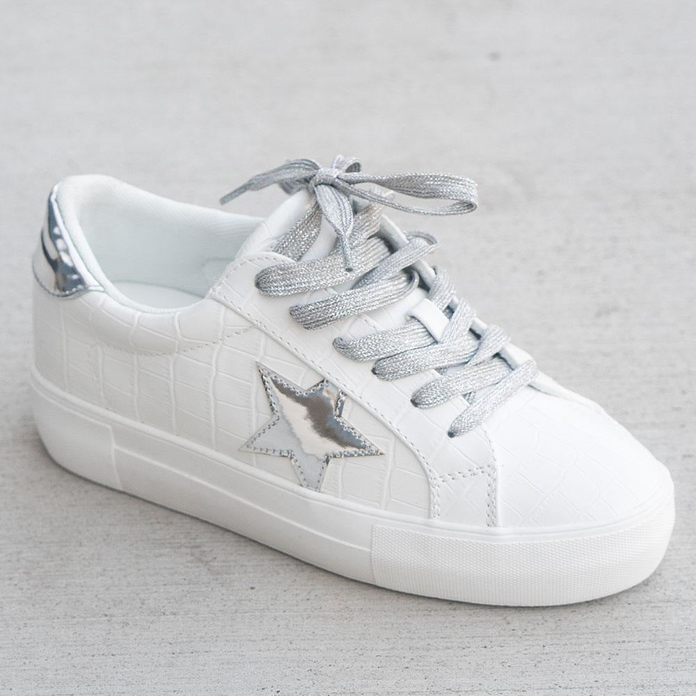 Women's Trendy Fashion Sneakers - Unbranded/Generic - White Croc / 5