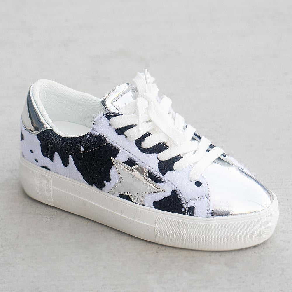 Women's Trendy Fashion Sneakers - Unbranded/Generic - Black Cow / 5