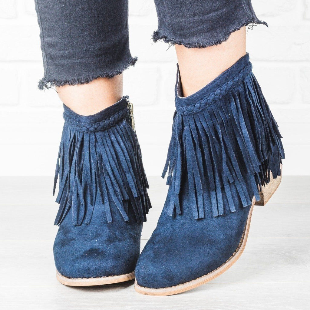 Womens Trendy Fringe Booties - Anna Shoes - Olive / 7