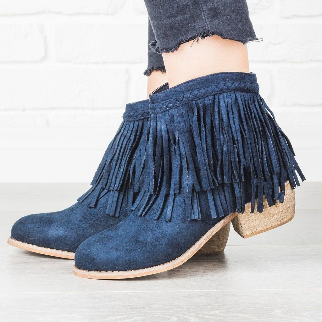 Womens Trendy Fringe Booties - Anna Shoes - Navy / 9
