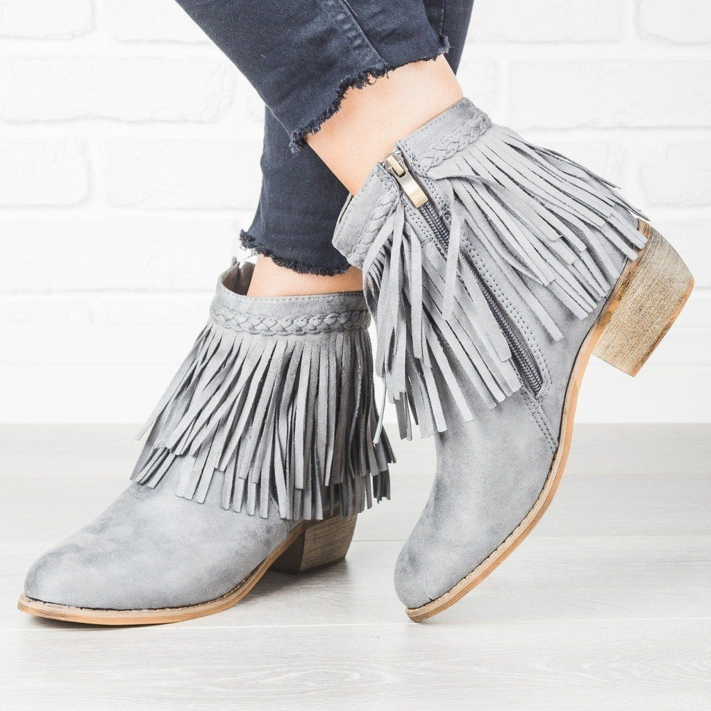 Womens Trendy Fringe Booties - Anna Shoes