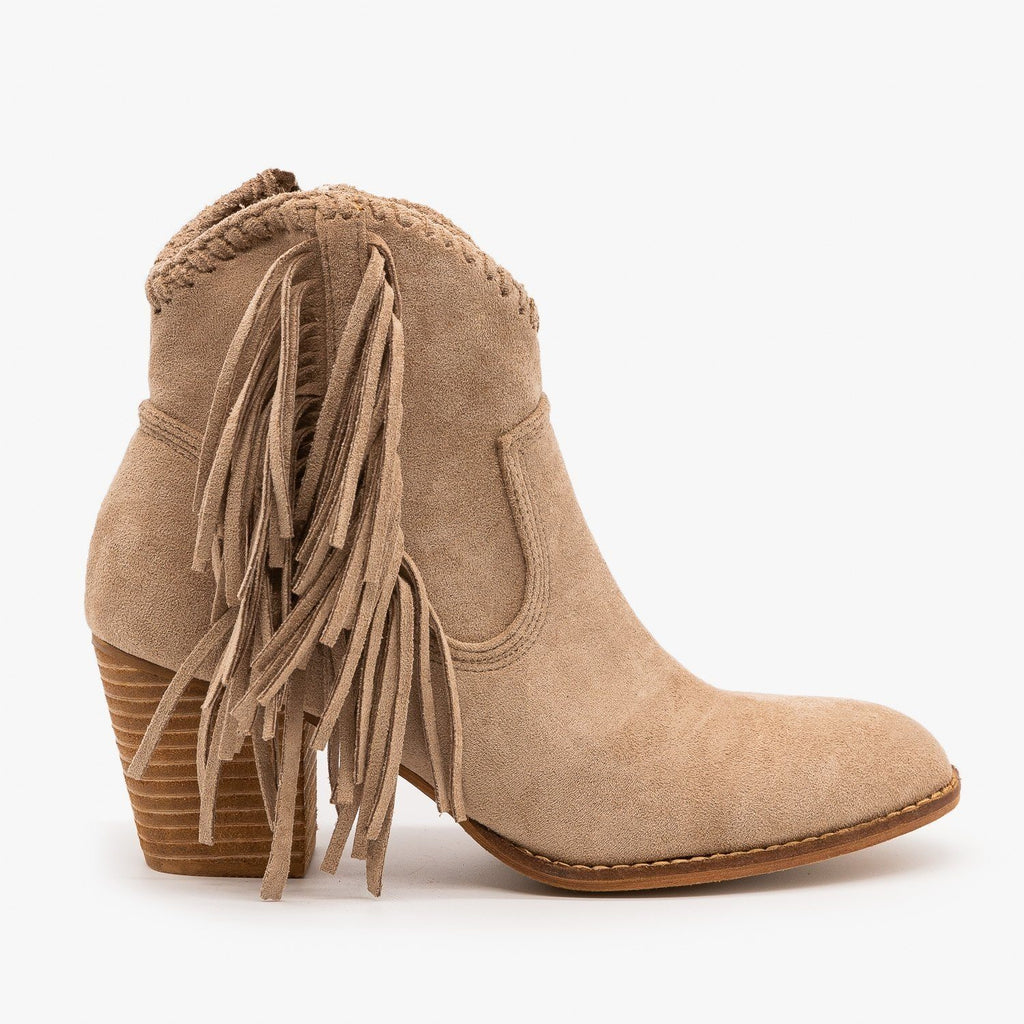 Womens Trendy Fringed Cowboy Booties - Beast Shoes - Taupe / 5