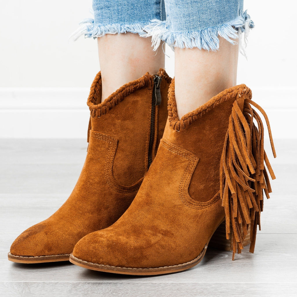 Womens Trendy Fringed Cowboy Booties - Beast Shoes - Camel / 5