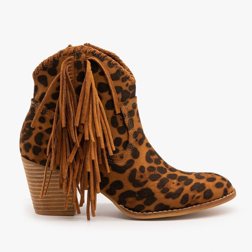 Womens Trendy Fringed Cowboy Booties - Beast Shoes - Leopard / 5