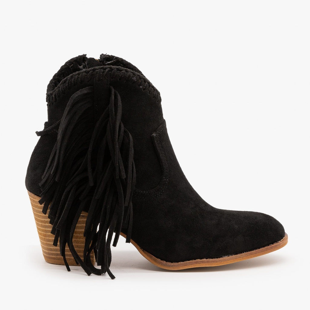 Womens Trendy Fringed Cowboy Booties - Beast Shoes - Black / 5