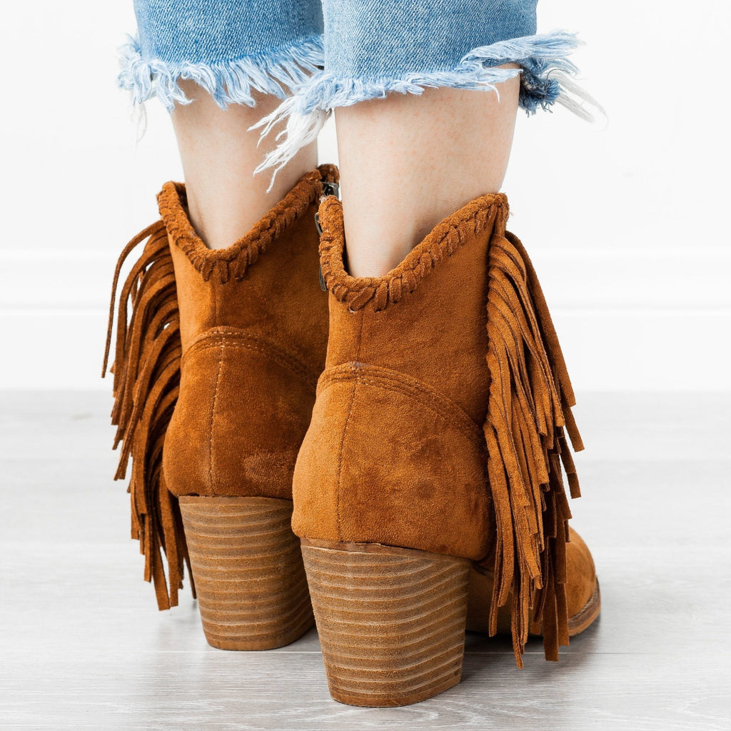 Womens Trendy Fringed Cowboy Booties - Beast Shoes