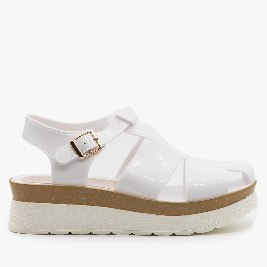 Womens Trendy Jelly Platform Sandals - Refresh - White / 5