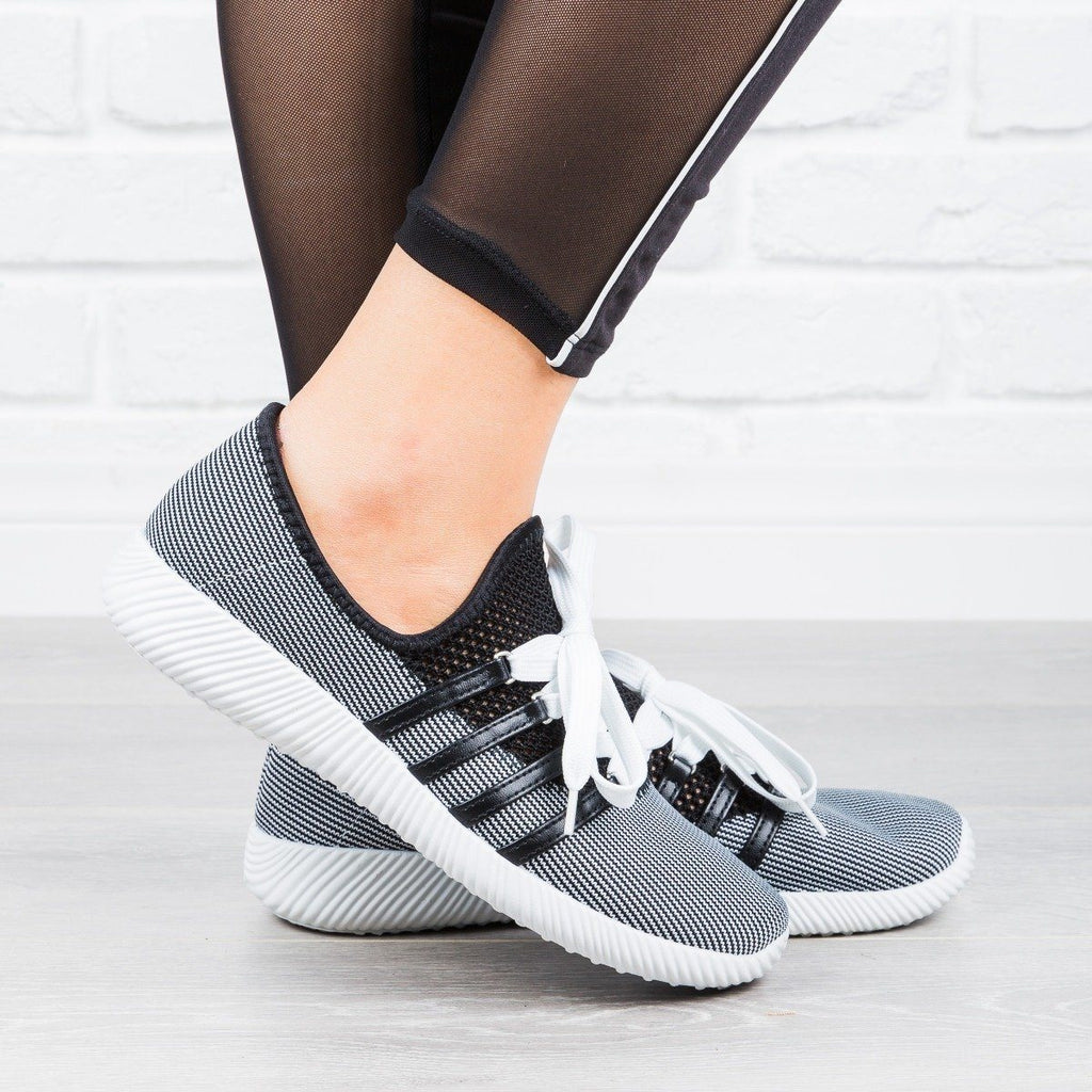 Womens Trendy Lace-Up Sneakers - Qupid Shoes - Black / 5