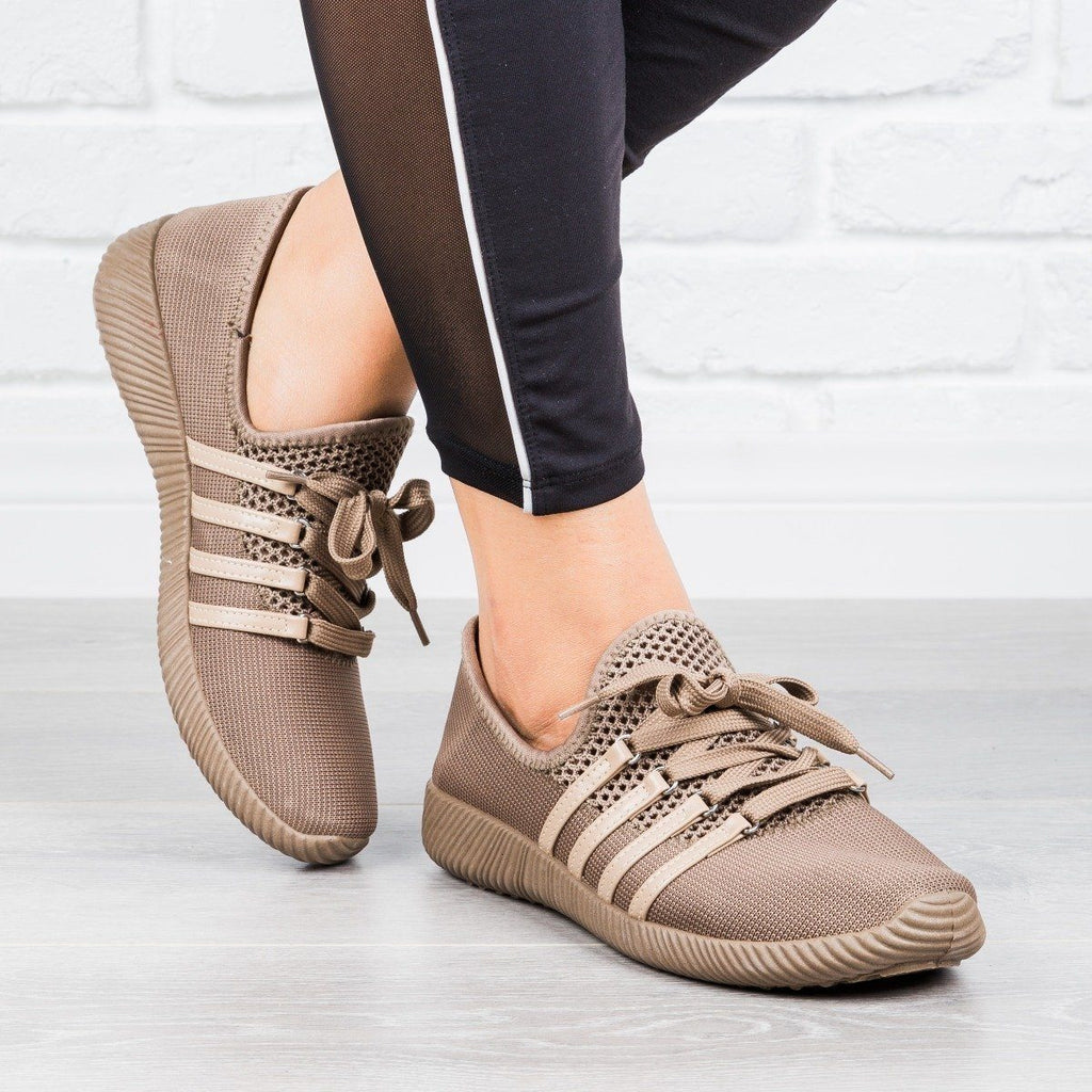 Womens Trendy Lace-Up Sneakers - Qupid Shoes - Taupe / 5