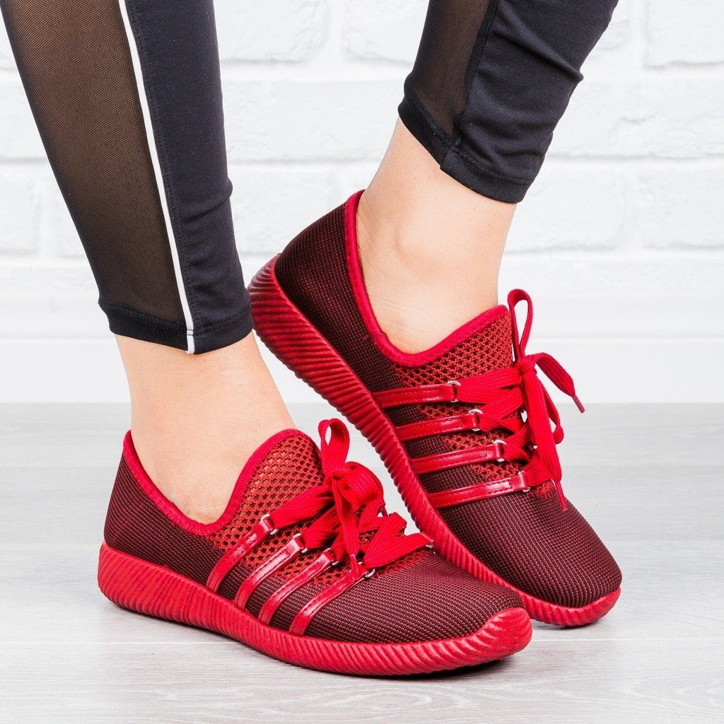 Womens Trendy Lace-Up Sneakers - Qupid Shoes - Red / 5