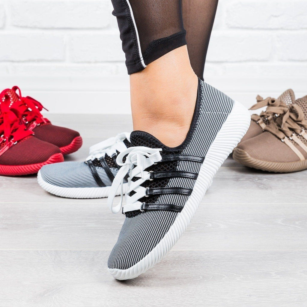 Womens Trendy Lace-Up Sneakers - Qupid Shoes