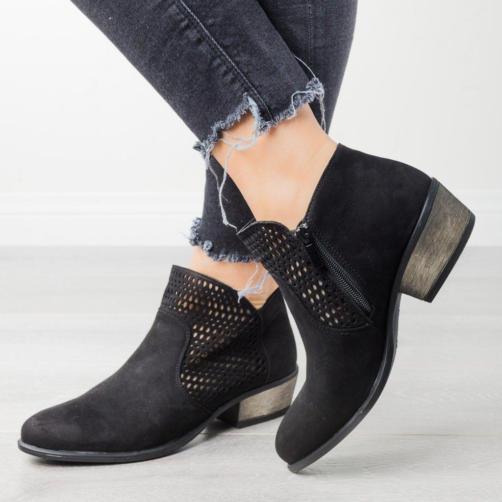 Womens Trendy Laser-Cut Booties - Bamboo Shoes - Black / 6