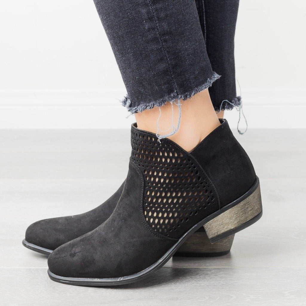 Womens Trendy Laser-Cut Booties - Bamboo Shoes
