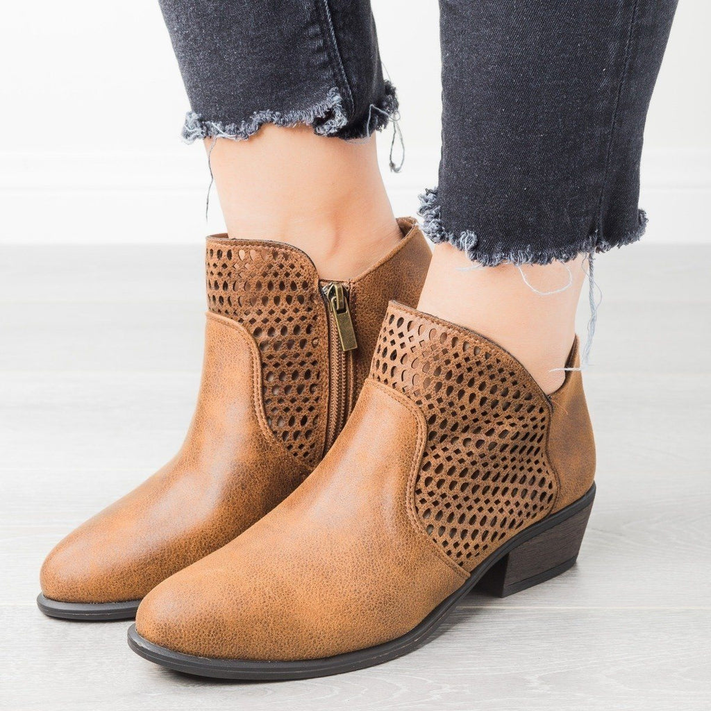 Womens Trendy Laser-Cut Booties - Bamboo Shoes - Chestnut / 6