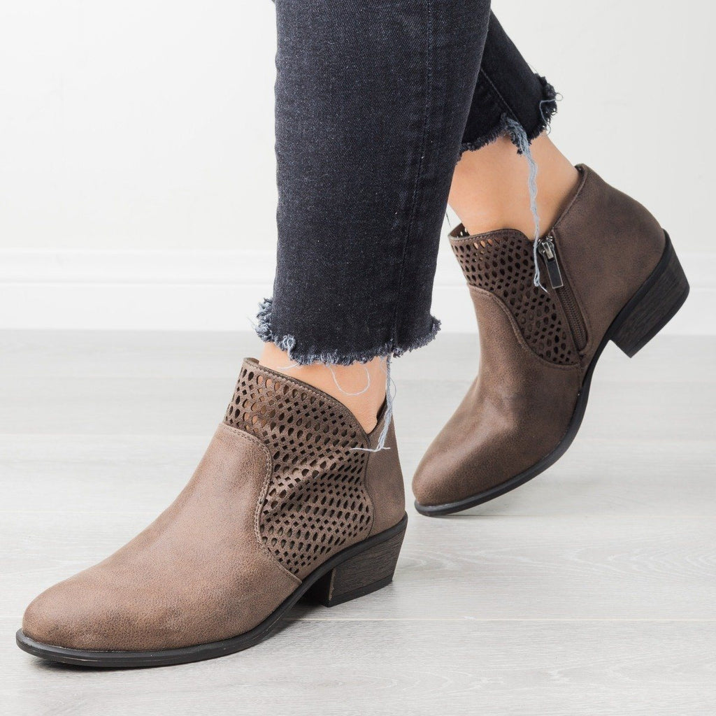 Womens Trendy Laser-Cut Booties - Bamboo Shoes - Taupe / 6