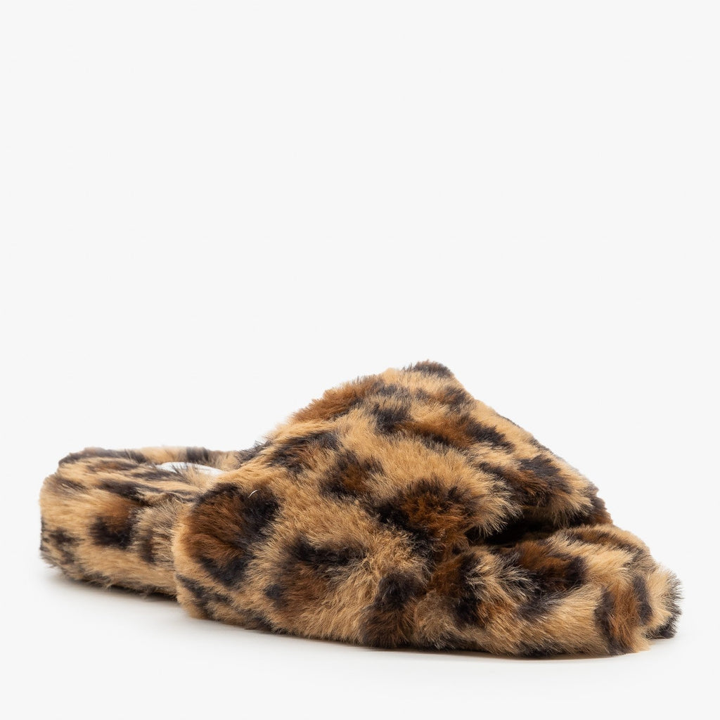 Womens Trendy Leopard Faux Fur Slides - Forever
