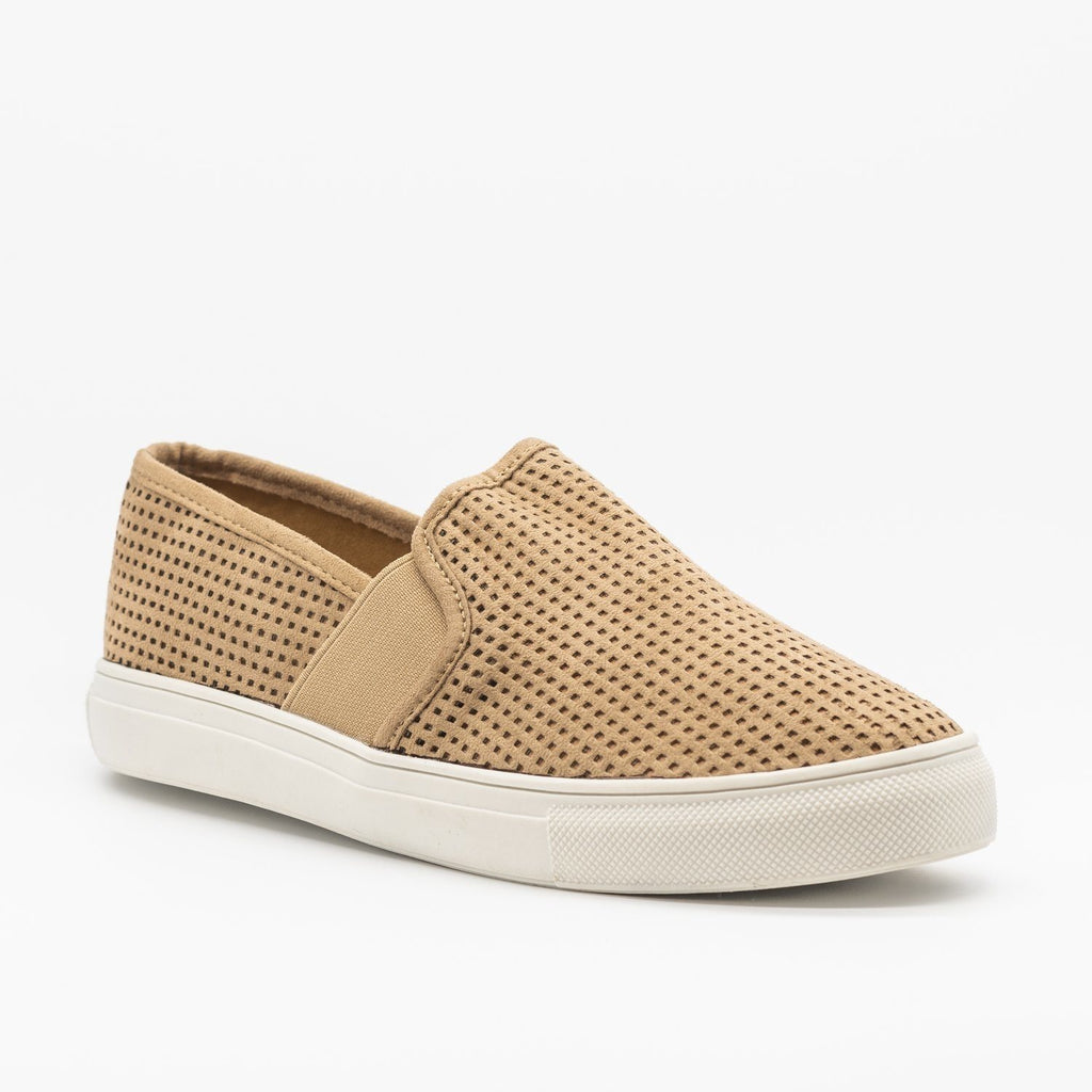 Womens Trendy Mesh Slip-On Sneakers - Soho Girls - Taupe / 5